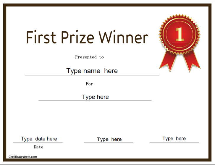 first prize certificate template education certificates first prize winner