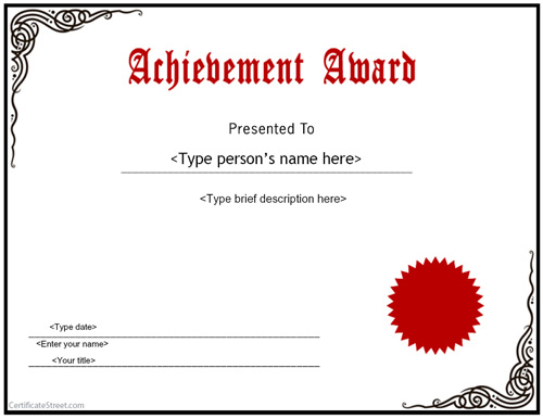 Free Printable Certificate Of Achievement Template