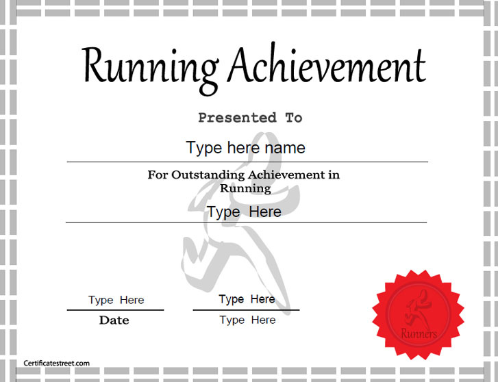 Sports certificates template for achievement in running for Running certificates templates free